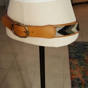 New Boutique Saddle Leather Beaded Belt Med